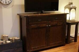 Locally Crafted: Reclaimed Wood Media Cabinet. By LIKEN Woodworks