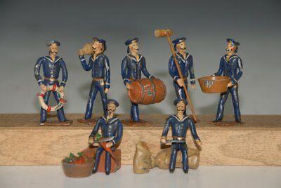 7 Marine Zinnfiguren in blauer Uniform * Tätigkeiten auf dem Schiffsdeck * 1900