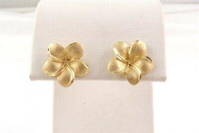 14k Yellow Gold Satin Finish Bright Cut Flower Stud Earrings 1/2