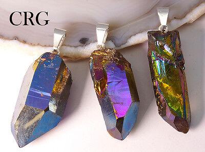 Rainbow Aura Quartz - Rainbow Pink Titanium Aura Quartz Crystal Point Pendant w/ Silver Bail (PT30CN)