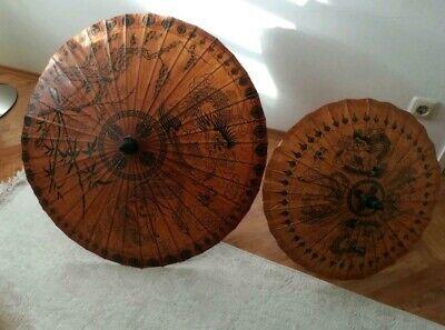 2x Japanische Papyrus Deko Sonnen Schirme
