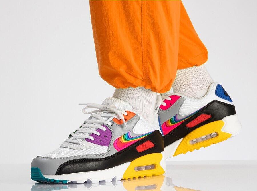 Nike Air Max 90 Betrue CJ5482 100 Weiß Multi Schwarz Damen Sneaker Turnschuhe