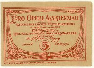 1927 Libretto Pro Opere Assistenziali Ass. Fascista Postelegrafonici 5 Lire A. V - Casal Palocco, Italia - 1927 Libretto Pro Opere Assistenziali Ass. Fascista Postelegrafonici 5 Lire A. V - Casal Palocco, Italia