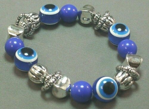 EVIL EYE Bracelet 13mm BLUE All-Seeing Eye &  Silver Tone Bead Accents LUCKY