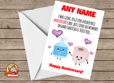 Personalised Humorous Funny Isolation Anniversary Card For Wife Husband Partner