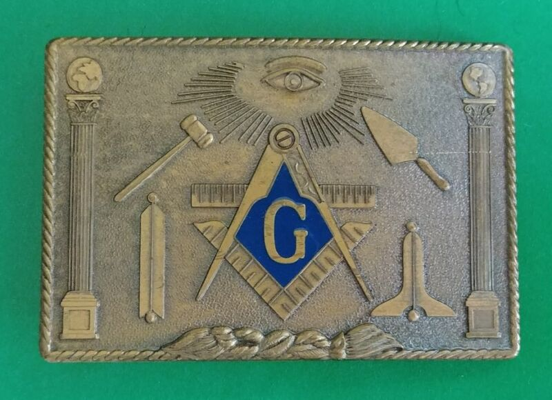 Vintage Mens Freemasons Solid Bronze Belt Buckle 1978 USA