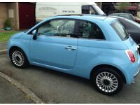 Blue Fiat 500 0.9 Twin Air 3 door hatchback - very low mileage