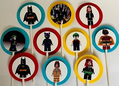 30 LEGO BATMAN Cupcake Toppers Birthday Party Decoration, 30 (Batman Baby Shower Decorations)