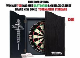 Winmau Ton Machine Dartboard and Black Cabinet Set Brand new Boxed Great Christmas Present