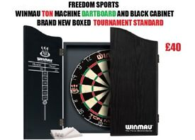 Winmau Ton Machine Dartboard and Black Cabinet Set Brand new Boxed Great Christmas Present