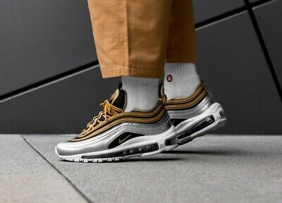 Nike Air Max 97 Silver Gold White Trainers Womens size UK 5.5 EU 39