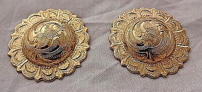 """Pair Engraved Brass El Paso Pico Conchos Screw Back 1 3//4/"""" Hansen Western Gear"""