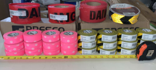 28 QTY! -BULK LOT- Reflective Caution Tape Yellow/Red Safety