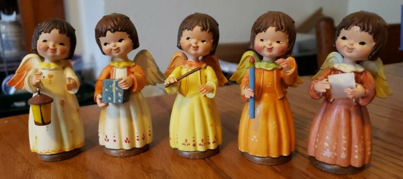 """VINTAGE ANRI TORIART Set of 5 Angel Musicians 3.5"""" Hand Painted Wooden. (B)"""