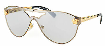 Authentic Versace VE 2161 10026G Gold Metal Sunglasses Light Silver Mirror Lens (Light Silver Mirror Lens)