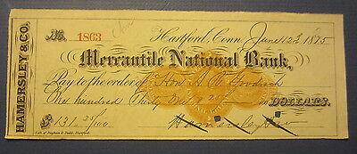 Old 1875 HARTFORD CONN. - Bank Check - Revenue Stamp - Hamersley & Co.