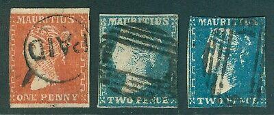 SG 41, 43, 43a Mauritius 1859. 1d red, 2d slate blue & 2d blue. Condition mix...