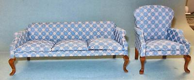 VINTAGE PERWINKLE BLUE QUEEN ANNE LIVING ROOM 242 DOLLHOUSE FURNITURE MINIATURES