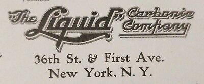 1919 Antique Invoice THE LIQUID CARBINE COMPANY New York N.Y