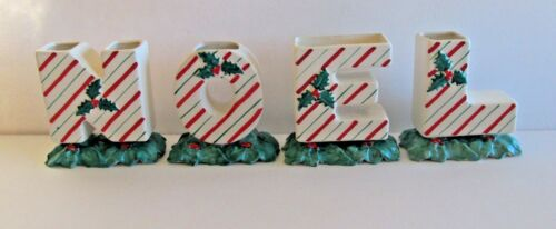 Vtg Japan  Set of 4 NOEL Letters Christmas Ceramic Holly Berry & Candy Cane