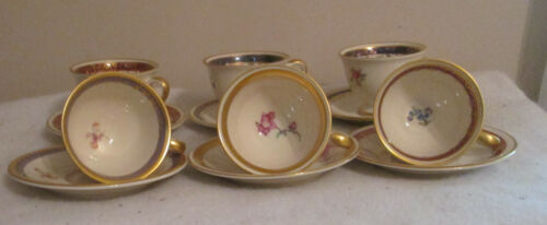 6 SETS OF PICKARD T-CUP & SAUCER HAND PAINTED  GOLD TRIM