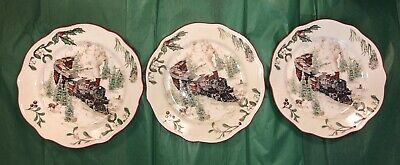 NEW Better Homes & Gardens Christmas Heritage Train Salad Plate Holiday Set Of 3