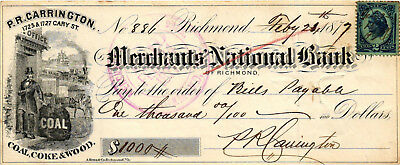 A Neat 1877 Check - The Merchants National Bank Richmond, Virginia - I.R.S Stamp