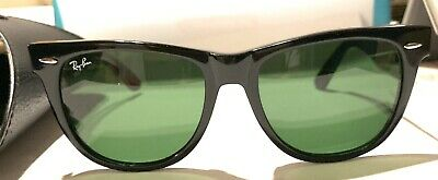 NEW Ray-Ban Original Wayfarer RB2140 901 54mm Black Frame Green Lenses (Ray Ban New Wayfarer Large)