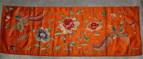 Antique Chinese Silk Embroidery Panel Pheonix Flowers Orange Gold Thread