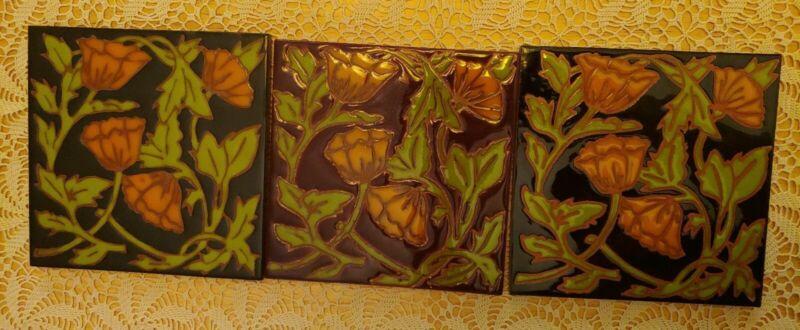 """Set of 3 Floral Design Art Tiles Elaine Cain vintage Deco 6X6"""""""