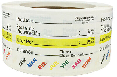 Dissolvable Shelf Life in Spanish Stickers, 2 x 3 Inches in Size, 500 Labels