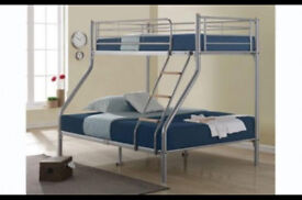 Triple Sleeper, Metal, Bunk Bed, Double, Single, Mattress, Wooden ladder, quality Mesh base , strong