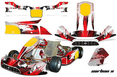 Go Kart Graphics Kit Decal Sticker Wrap For Tony Kart Venox CARBON X RED