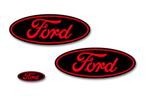 Ford Oval Badge Emblem Logo Overlay Sticker Decal Set For Ford F150 15-18 RED BK