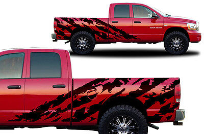 Vinyl Decal Halfside SHRED Wrap Kit for Dodge Ram 1500/2500 Truck 2002-08 BLACK