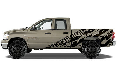 Vinyl Decal Graphic Wrap Kit for 02-08 Dodge Ram 6.5 Bed DODGE SHRED Matte Black