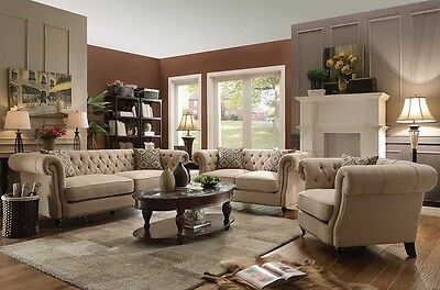 TERRIFIC TRADITIONAL BUTTON TUFTED OATMEAL LINEN SOFA & LOVE SEAT FURNITURE SET Button Tufted Seat