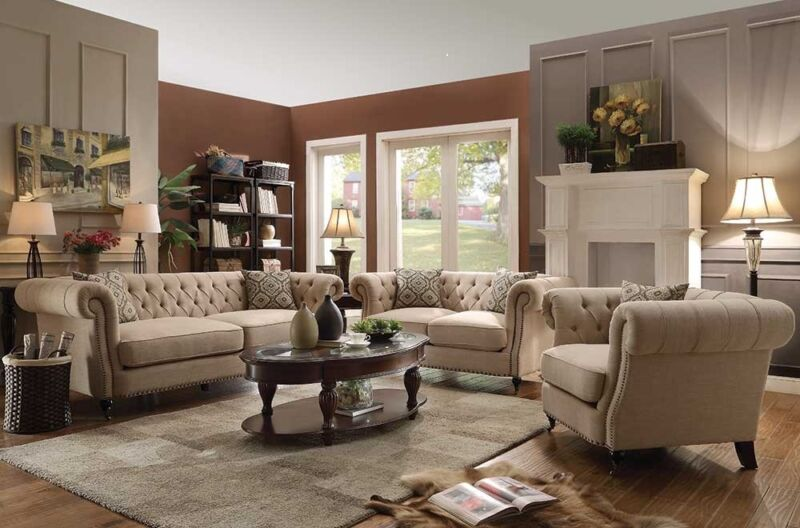 Terrific Traditional Button Tufted Oatmeal Linen Sofa & Love Seat Furniture Set