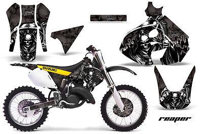 Dirt Bike Graphics Kit Decal Sticker Wrap For Suzuki RM125 1999-2000 REAPER BLK