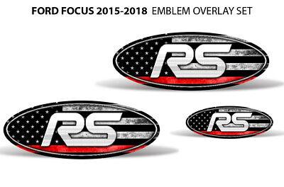 Oval Badge Emblem Logo Overlay Sticker Decals For Ford Focus 2012-2014 RED LINE