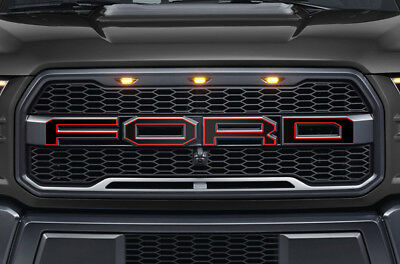 Ford F150 SVT Raptor Grille Insert Graphics Stickers Decals 2015-2018 Red Black, used for sale  Shipping to Canada