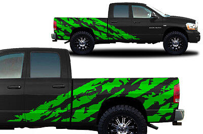 Vinyl Decal Halfside SHRED Wrap Kit for Dodge Ram 1500/2500 Truck 2002-08 GREEN