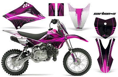 Dirt Bike Graphics Kit Decal Sticker Wrap For Kawasaki KLX110 10-16 CARBONX PINK
