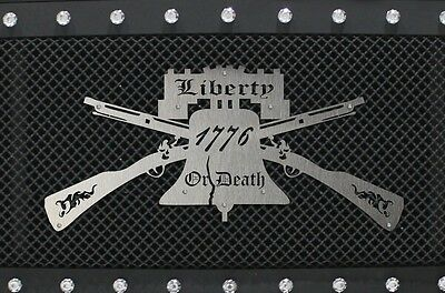Universal Stainless Steel Grille Badge Emblem LIBERTY OR DEATH 1776 America