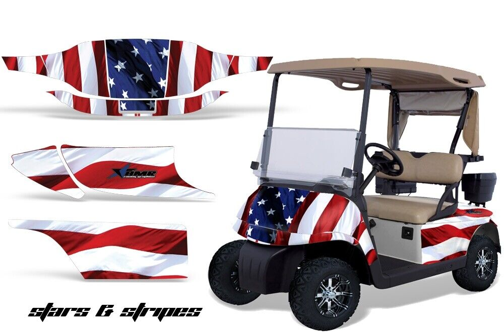 Golf Cart Graphics Kit Decal Sticker Wrap For 2 Seat EZ-Go TXT 94-13 StarsStripe