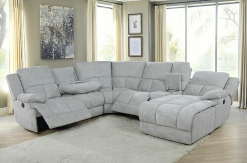 6 PC LIGHT GREY RECLINING SOFA CHAISE SECTIONAL DROP DOWN TABLE FURNITURE