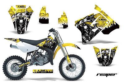 Dirt Bike Graphics Kit Decal Sticker Wrap For Suzuki RM85 2002-2016 REAPER YLLW