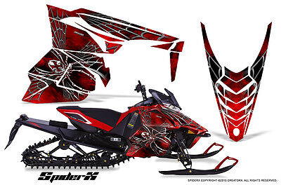 YAMAHA VIPER 2014-2016 SNOWMOBILE SLED WRAP GRAPHICS KIT CREATORX SPIDERX RED