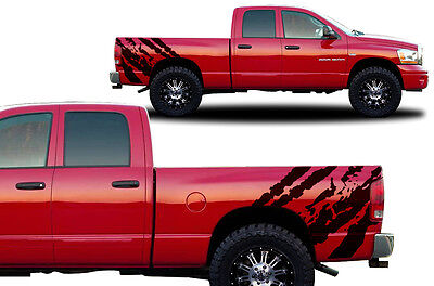 Custom Vinyl Decal RIPPED Wrap Kit for Dodge Ram 1500/2500 2002-2008 Truck BLACK