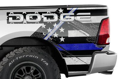 Dodge Ram 1500 Rear Quarter Panel Graphic Kit Truck Bed Decal Set 09-14 BLUE LNE